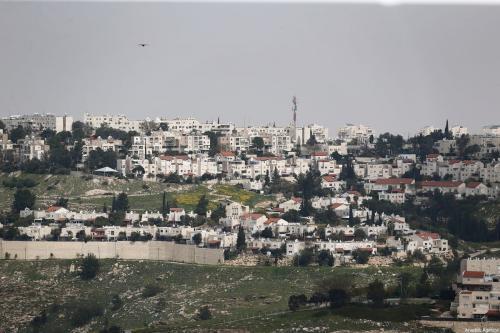 Uma visão geral de Ma'ale Adumim, um assentamento israelense ilegal a sete quilômetros de Jerusalém em 16 de março, 2021 [Agência Mostafa Alkharouf / Anadolu]
