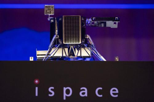 Um modelo de conceito do novo módulo lunar da Ispace Inc. é exibido durante uma coletiva de imprensa em Tóquio, Japão, na quarta-feira, 13 de dezembro de 2017 [Tomohiro Ohsumi/Bloomberg via Getty Images]