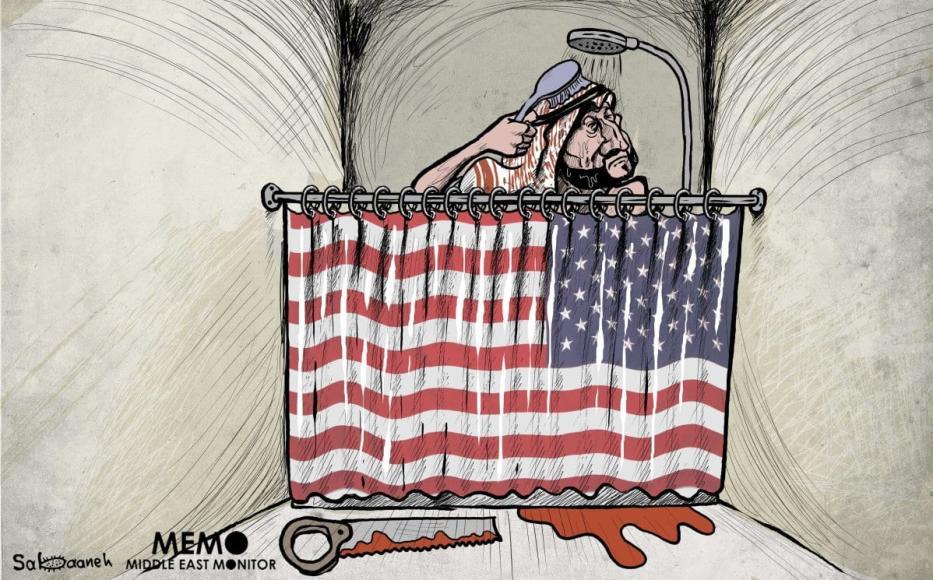 Dois anos após o assassinato de Jamal Khashoggi, MBS não tem nada com que se preocupar - charge [Sabaaneh / MiddleEastMonitor]