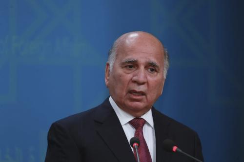 O ministro das Relações Exteriores do Iraque, Fuad Hussein, em Bagdá, Iraque, em 1 de fevereiro de 2021 [Agência Murtadha Al-Sudani/ Anadolu]