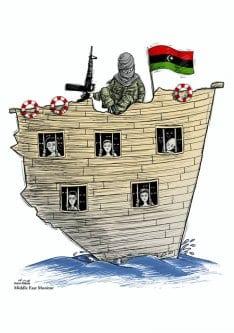 Até 77% dos migrantes enfrentam abusos, exploração e tráfico - Crise de refugiados, Líbia - Cartoon [Hani Abbas/ Monitor do Oriente Médio]