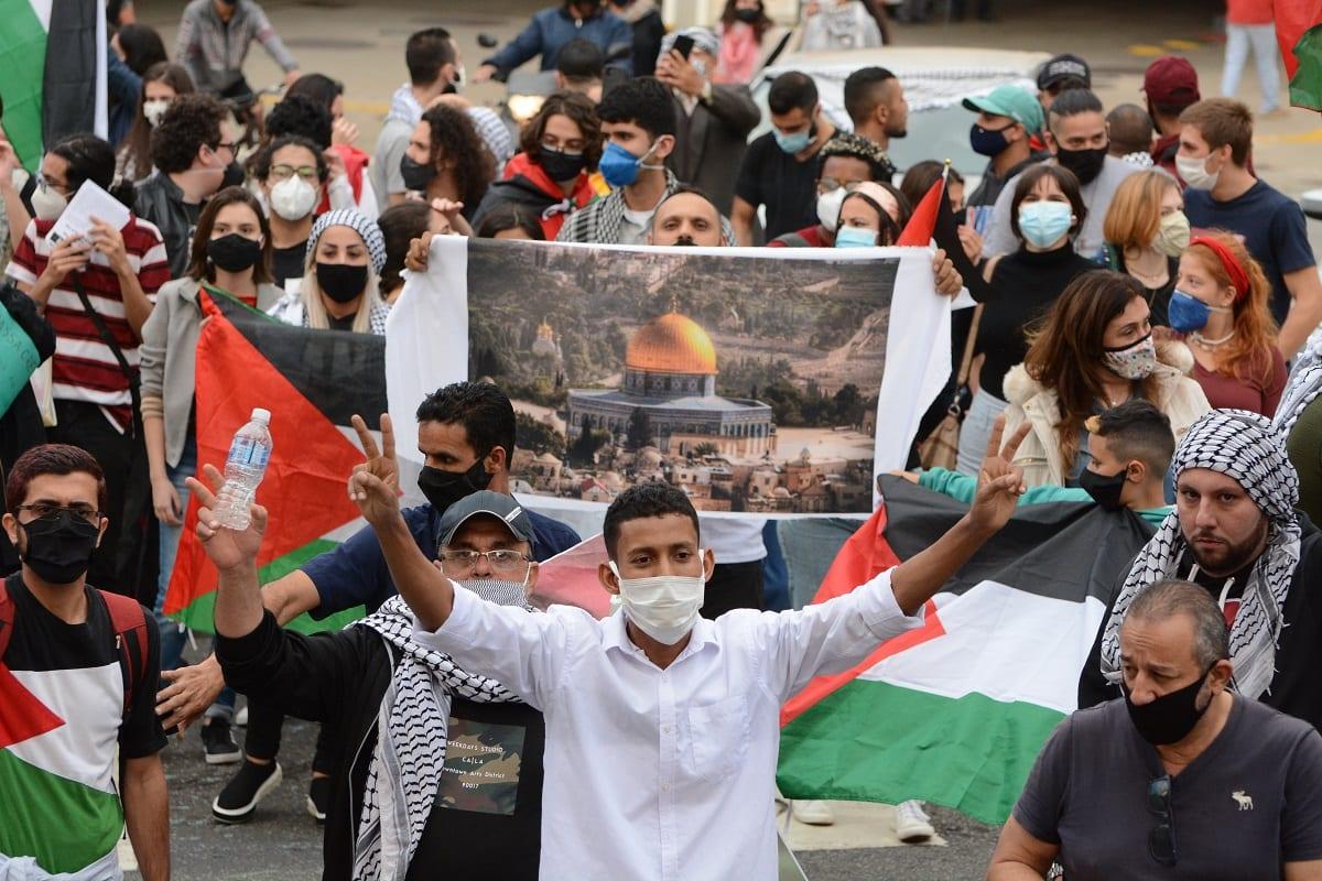Carreata em solidariedade ao povo palestino nos 72 anos da Nakba, em São Paulo, 15 de maio 2021 [Foto Lina Bakr]