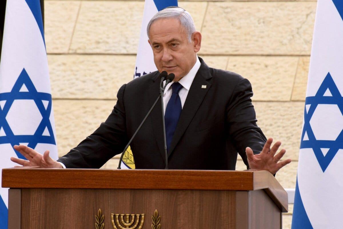 Primeiro-ministro israelense Benjamin Netanyahu em Jerusalém, em 13 de abril de 2021 [DEBBIE HILL/POOL/AFP via Getty Images]