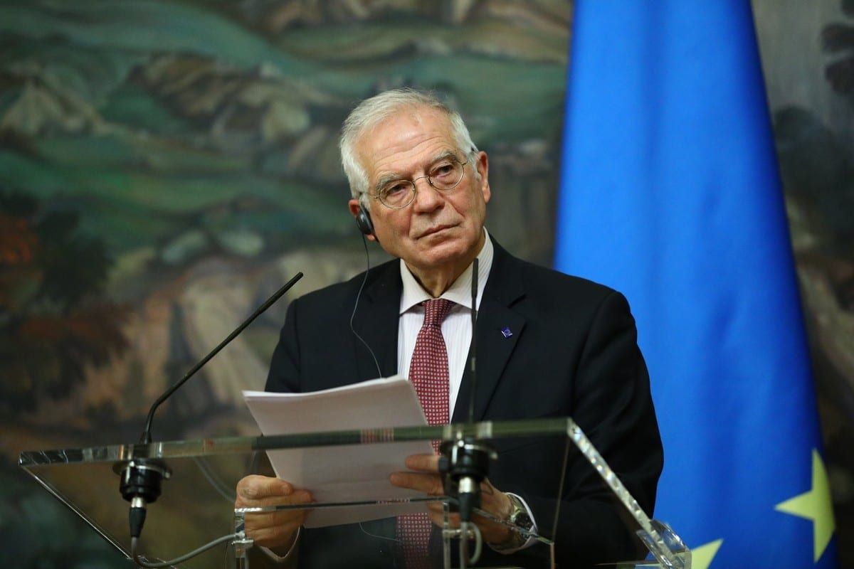 Josep Borrell, alto representante da UE para os Negócios Estrangeiros e a Política de Segurança, em Moscou, Rússia, em 5 de fevereiro de 2021 [Ministério das Relações Exteriores da RU/Agência Anadolu]