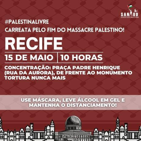Convocatória ao ato pelo Dia da Nakba