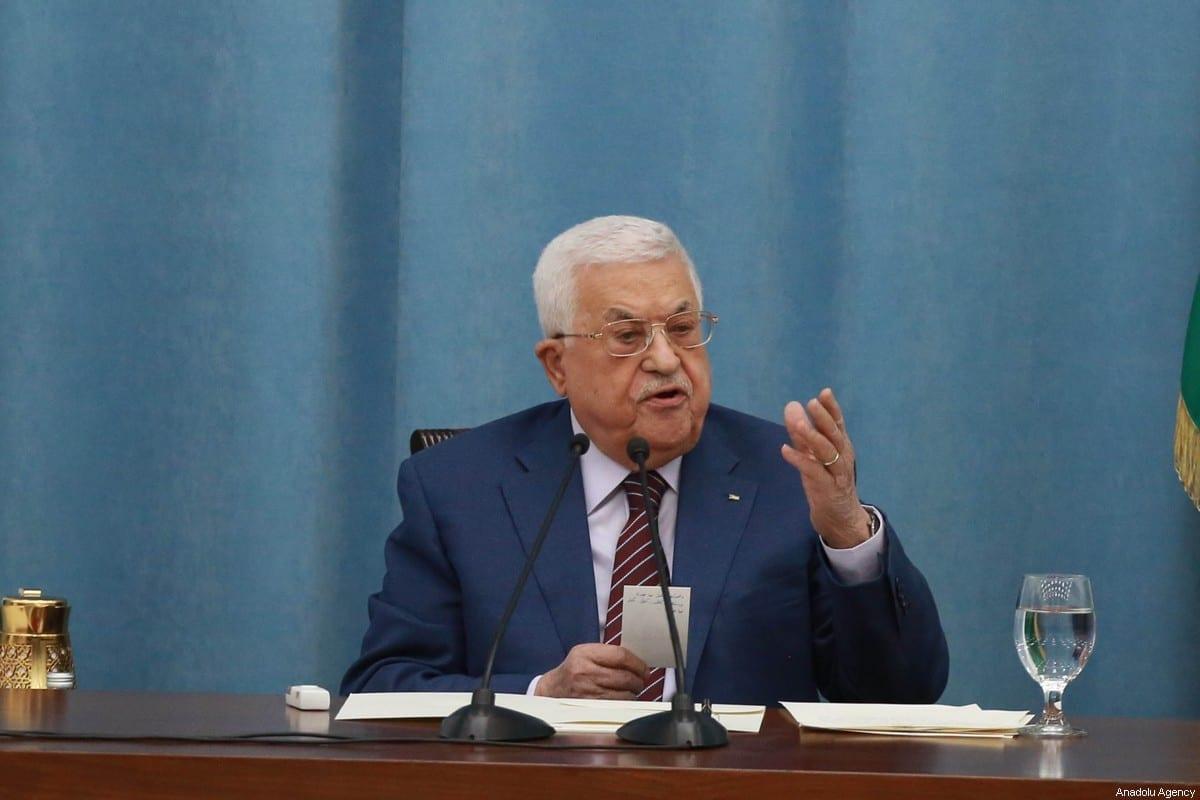 Presidente da Autoridade Palestina Mahmoud Abbas em Ramallah, Cisjordânia ocupada, 12 de maio de 2021 [Issam Rimawi/Agência Anadolu]