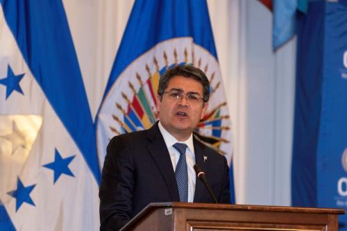 Presidente de Honduras, Juan Orlando Hernández, em Washington, Estados Unidos da América, 28 de fevereiro de 2019 [Juan Manuel Herrera/OAS]