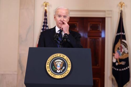 Presidente dos Estados Unidos Joe Biden comenta conflito no Oriente Médio, em Washington DC, 20 de maio de 2021 [Anna Moneymaker/Getty Images]