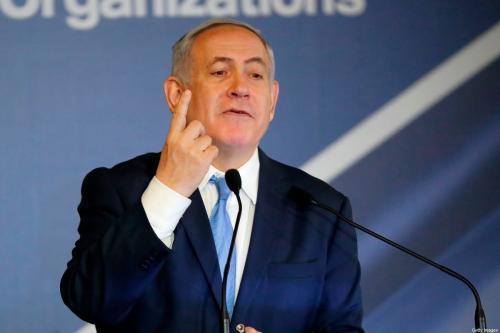 Benjamin Netanyahu, então premiê de Israel, em Jerusalém ocupada, 21 de fevereiro de 2018 [Thomas Coex/AFP/Getty Images]