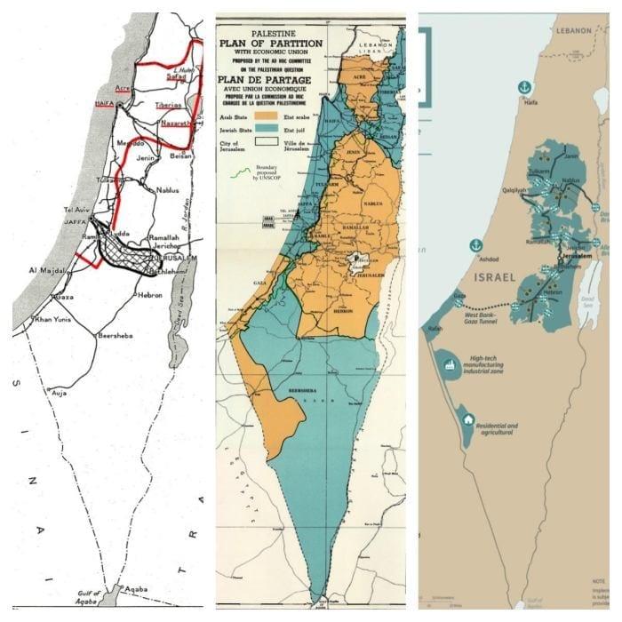 """Nos mapas, é possível comparar as diferentes """"soluções"""" para a questão palestina, sendo o último o mapa proposto por Donald Trump"""