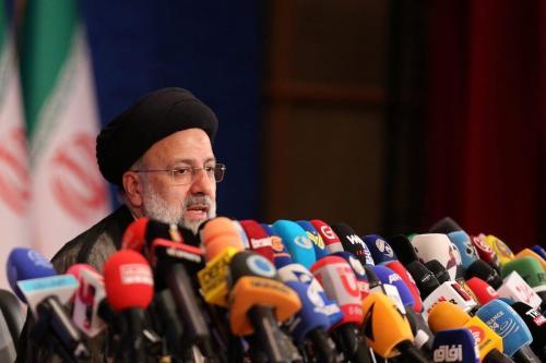 Ebrahim Raisi, presidente eleito do Irã, em sua primeira coletiva de imprensa desde a vitória eleitoral, em Teerã, 21 de junho de 2021 [Fatemeh Bahrami/Agência Anadolu]