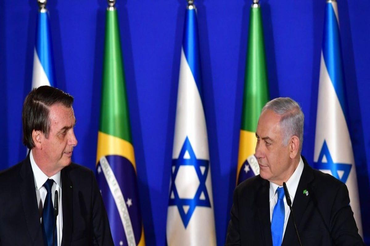 Presidente brasileiro Jair Bolsonaro, e o primeiro-ministro de Israel, Senhor Benjamin Netanyahu, durante coletiva de imprensa imprensa, em 31 de março de 2019 [Alan Santos/PR]