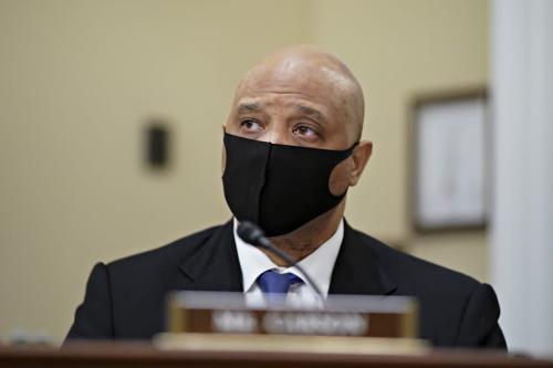 O congressista americano Andre Carson em Washington, D.C, em 15 de abril de 2021 [Al Drago-Pool/Getty Images]