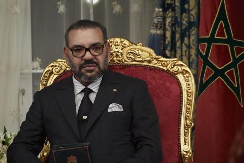 O rei Mohammed VI de Marrocos assiste à assinatura de acordos bilaterais no Palácio Real de Agdal, em 13 de fevereiro de 2019, em Rabat, Marrocos [Carlos Alvarez/Getty Images]