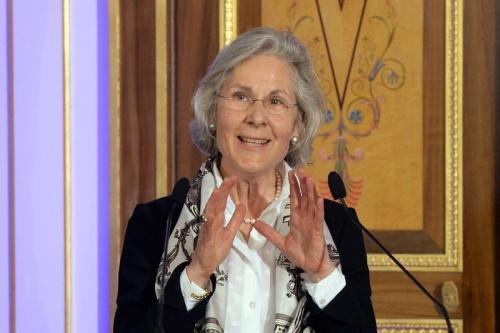 Embaixadora da Alemanha na França, Susanne Wasum-Rainer, em Paris, em 25 de abril de 2014 [Pierra Andrieu/AFP via Getty Images]