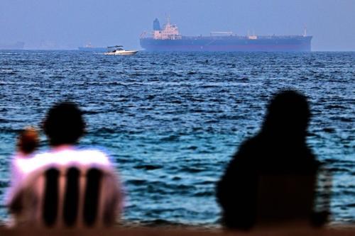 O navio-tanque israelense de propriedade japonesa MT Mercer Street é visto no porto do Emirado do Golfo de Fujairah, nos Emirados Árabes, em 3 de agosto de 2021 [Karim Sahib/AFP via Getty Images]