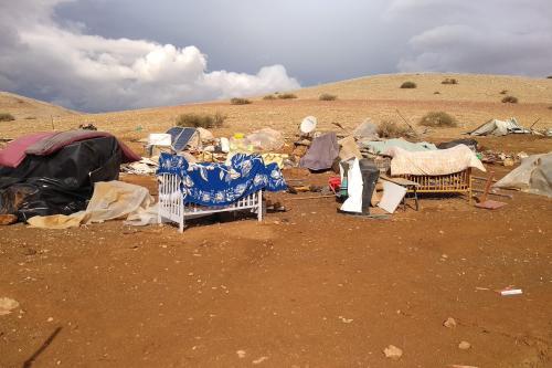 Vilarejo beduíno Khirbet Humsah após demolição israelense, em 3 de novembro de 2020 [Sarit Michaeli/B'Tselem]