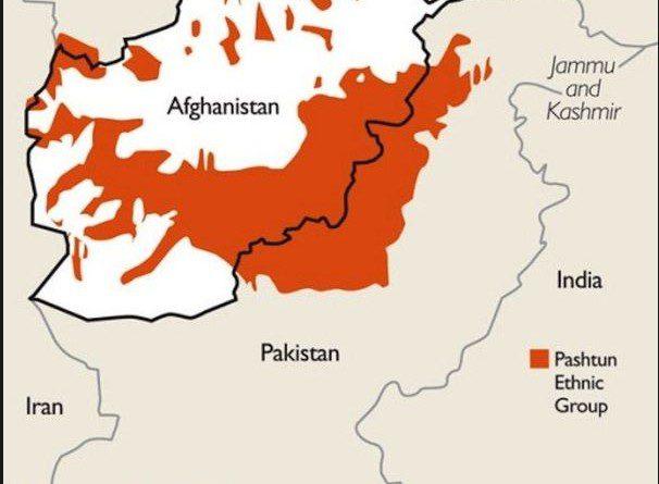 A área vermelha indica região dos grupos étnicos pashtuns [Kashimir Watch]