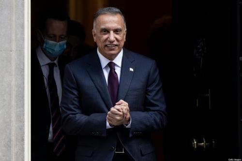 Primeiro-ministro iraquiano Mustafa Al-Kadhimi, em 22 de outubro de 2020, em Londres, Inglaterra [Dan Kitwood/Getty Images]