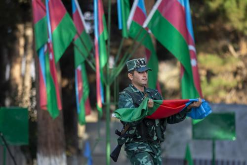 Cerimônia militar em Zangilan, Azerbaijão, 8 de novembro de 2020 [Arif Hüdaverdi Yaman/Agência Anadolu]