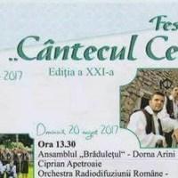 """Programul Festivalului """"Cântecul Cetinii"""" de la Dorna Arini, ediția 2017"""