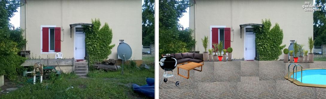 am nager une cour de maison monjardin. Black Bedroom Furniture Sets. Home Design Ideas