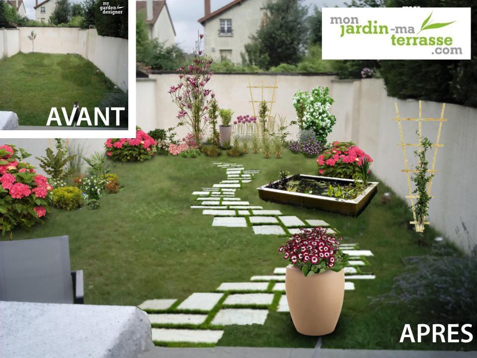 aménager rez de jardin en longueur avant apres