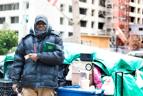 Lance, a homeless man on the streets of Washington D.C who distributes needed necessities to other homeless people. Lance is featured in story #15 of 29 Stories of February