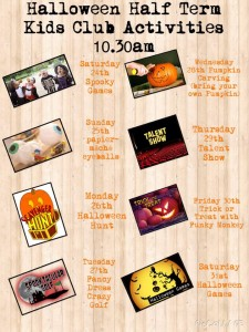 Poster showing October half-term activities at Monkey Tree Holiday Park, Cornwall
