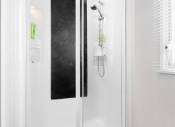 Watergate Holiday Home shower room at Monkey Tree Holiday Park