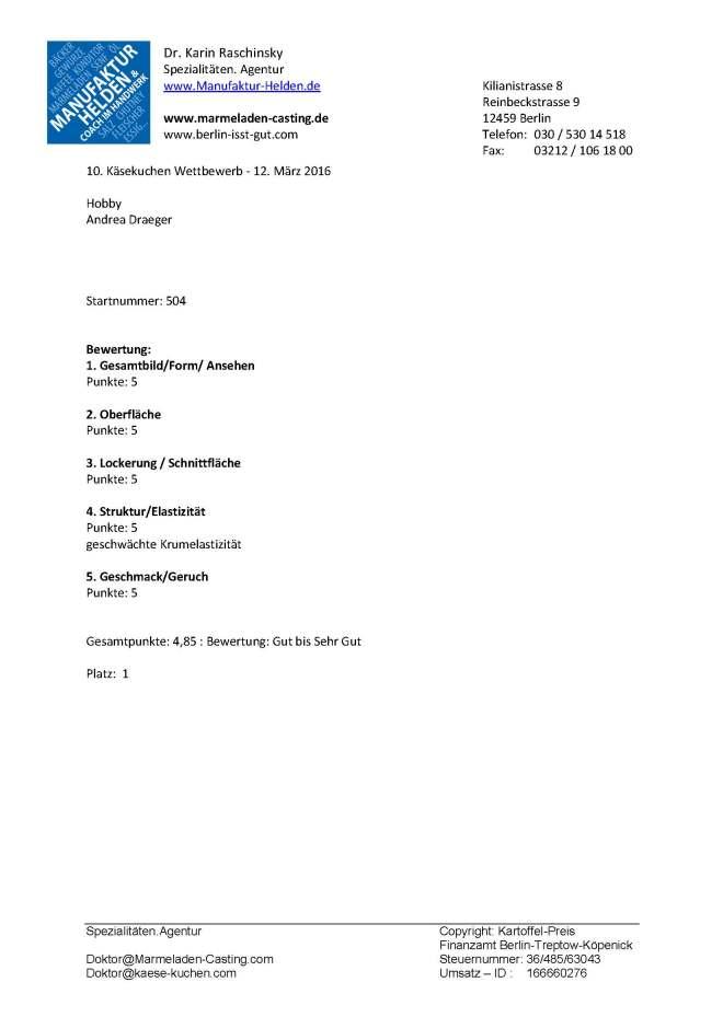 Testprotokoll Käsekuchen Wettbewerb 2016