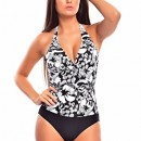 Figure Optimizer! Push Up Halter Swimsuit par Belly Octopus plat! 1127-f4358 Motif noir et blanc , taille 44