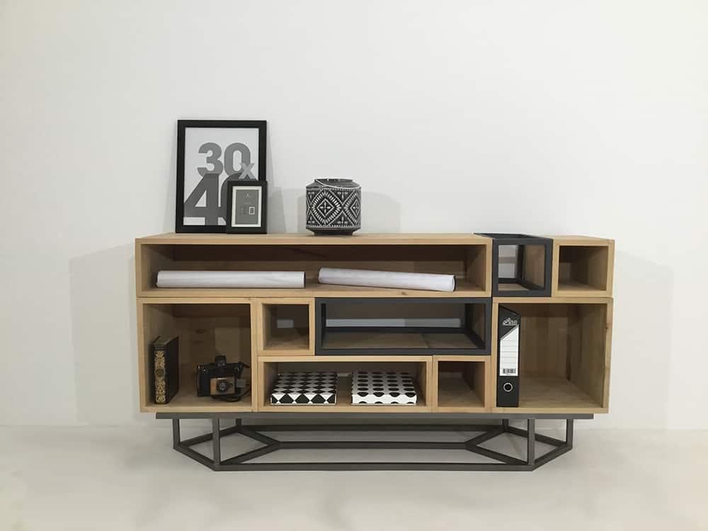 un meuble bois et metal visitez le site mon meuble design sur mesure
