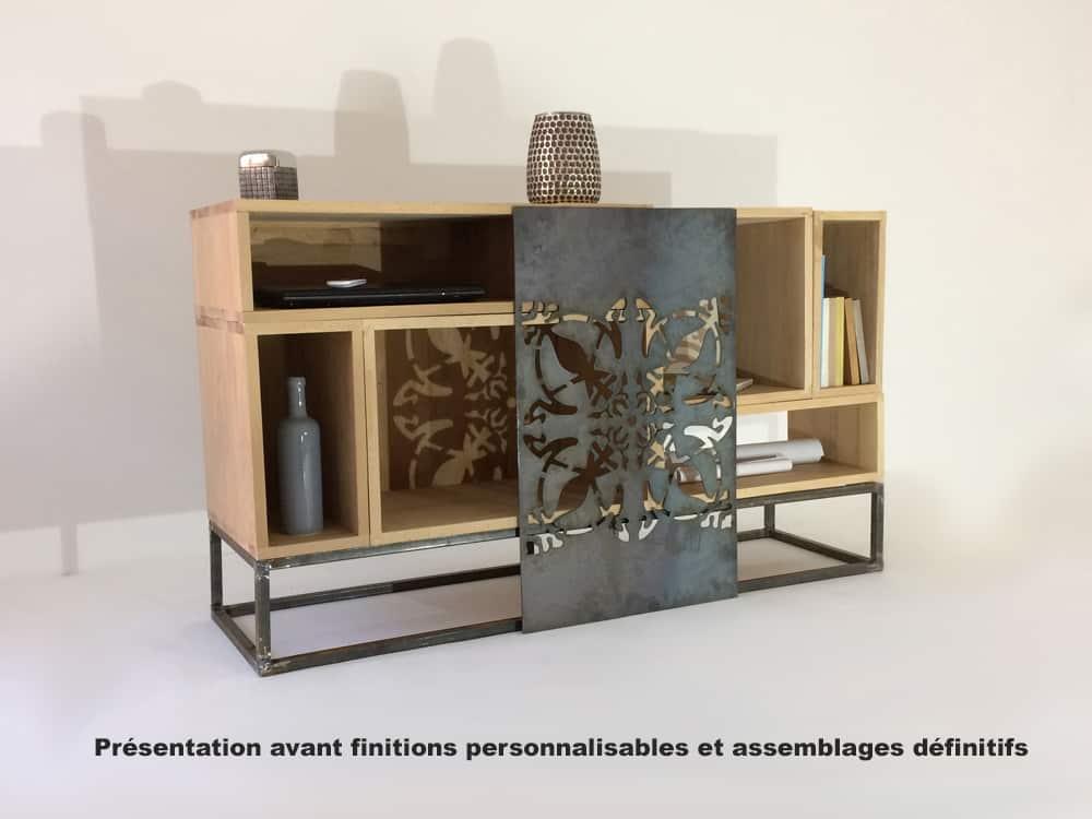 meuble design bois et metal ajoure boston
