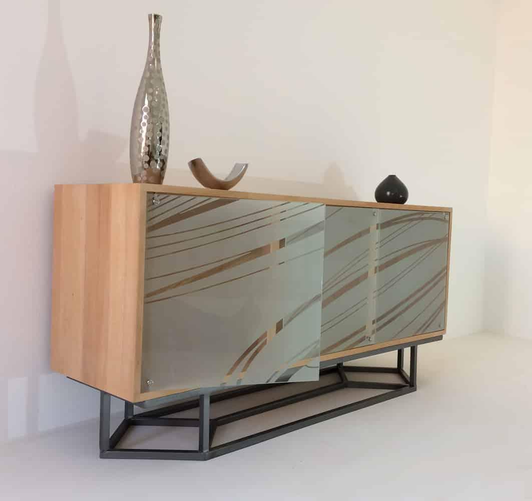 meuble de rangement vitre 3 portes en verre sable ellipses
