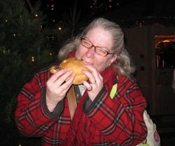 Tammy enjoying her Bratwurst