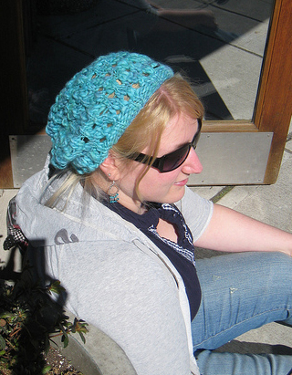 Modeling the Blue Slouchy Melonhead Hat