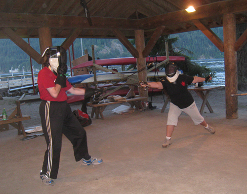 Duelling in the Beginner's Tourney (I'm on the right, lunging)