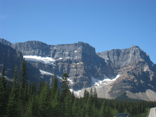 Driving up the Icefields Parkway from Banff towards Jasper