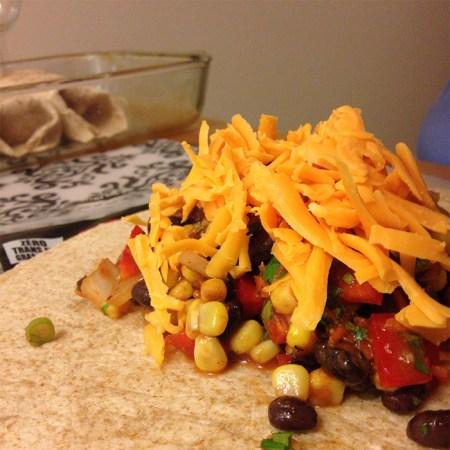 Assembling the enchiladas
