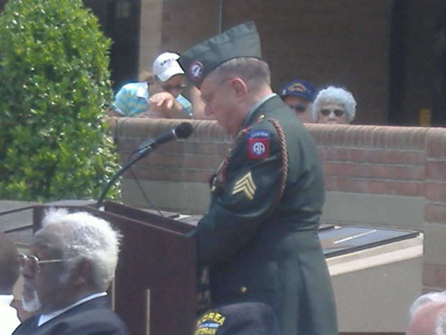 Ed Tattersall read the list of 187 names that represent Wicomico County's war toll since World War I.