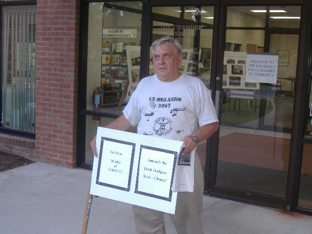 This gentleman wanted both Bush and Cheney impeached. The Vietnam veteran was handing out a cartoon mocking Bush for not having served in Vietnam.