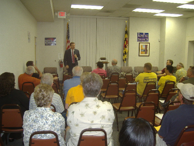 First to speak was Congressional candidate and Arnold resident Joe Arminio. This gives you a little idea of the crowd as well.