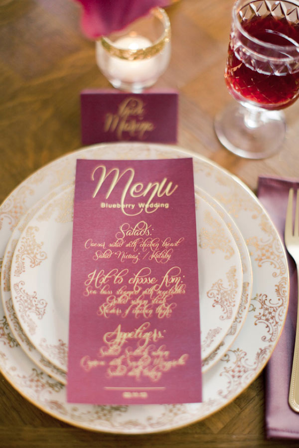 Plum and Gold menu featured on Burnett's Boards