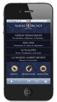 page d'accueil site mobile Albert Bichot