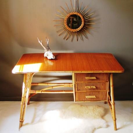 bureau en rotin et bambou vintage
