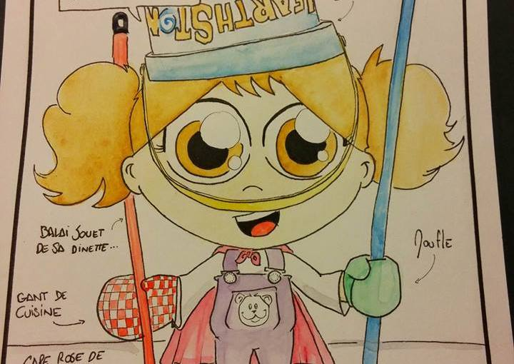 """""""EN ROUTE POUR LE SKI !"""" (Balai de la cuisine / Seau de plage / Moufle / Couvercle de boite de jouets / Casserole / Cape rose de princesse pistouman / Gant de cuisine / Balai jouet de sa dinette ..."""
