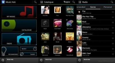 Interface du Music Hub