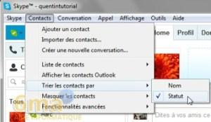 trier les contacts skype