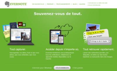 L'interface d'Evernote